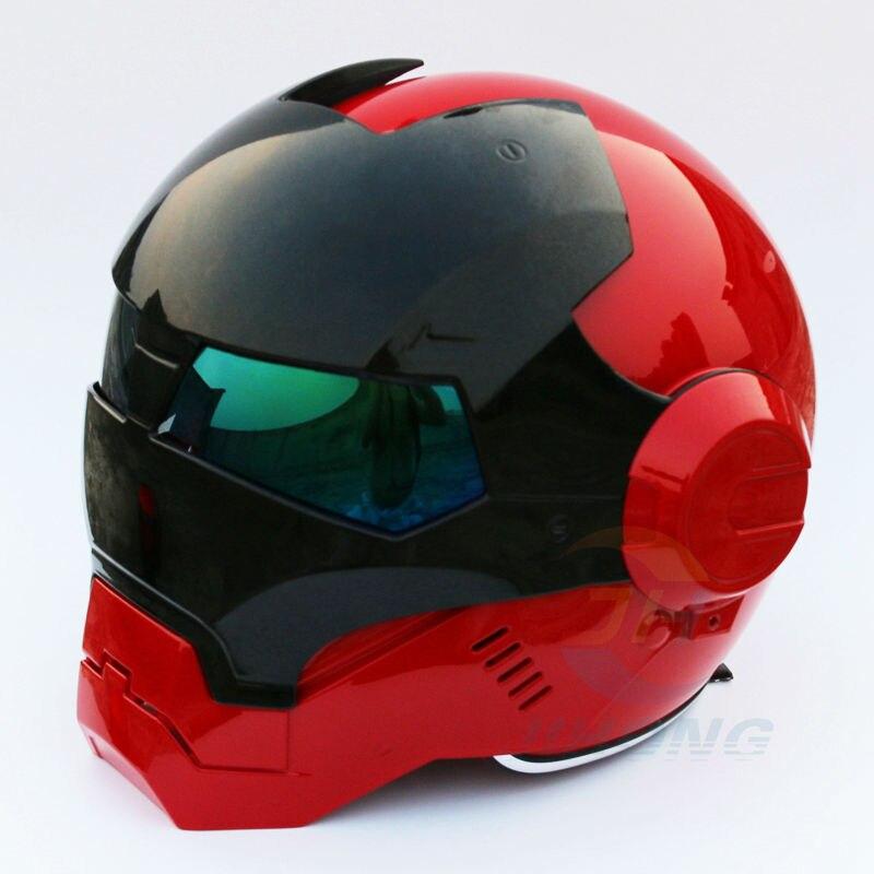 Nuovo Masei Bright Red & Black Mens womens IRONMAN Ferro Man casco moto mezza casco aperto del fronte casco ABS casco motocross