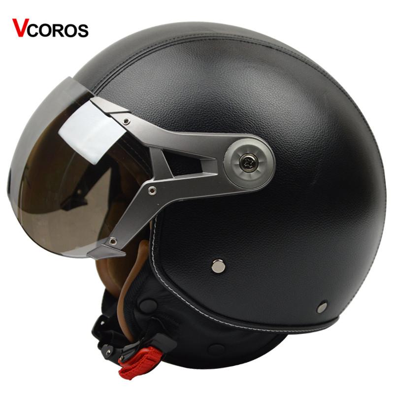 Prix pour Vcoros véritable en cuir vintage moto casque rétro harley moto casque open face casque avec argent ensoleillé bouclier M L XL taille