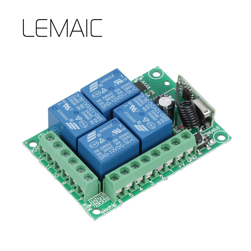 LEMAIC Universal 433Mhz DC 12V 4 Channel RF Wireless Remote Control Switch Relay Receiver Module learning Code Transmitter Diy