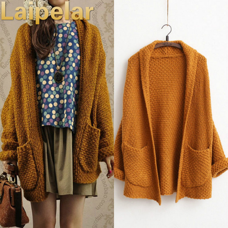 2018 ulzzang Girl Casual Long Knitted Cardigan Autumn Korean Women Loose Solid Color Pocket Design Sweater Jacket Beige Laipelar in Cardigans from Women 39 s Clothing