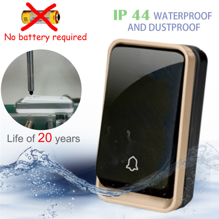 YIFAN New self powered Wireless Doorbell NO battery Waterproof 150M range EU Plug 110-220V smart Door Bell 1 button 1 2 receiver 2