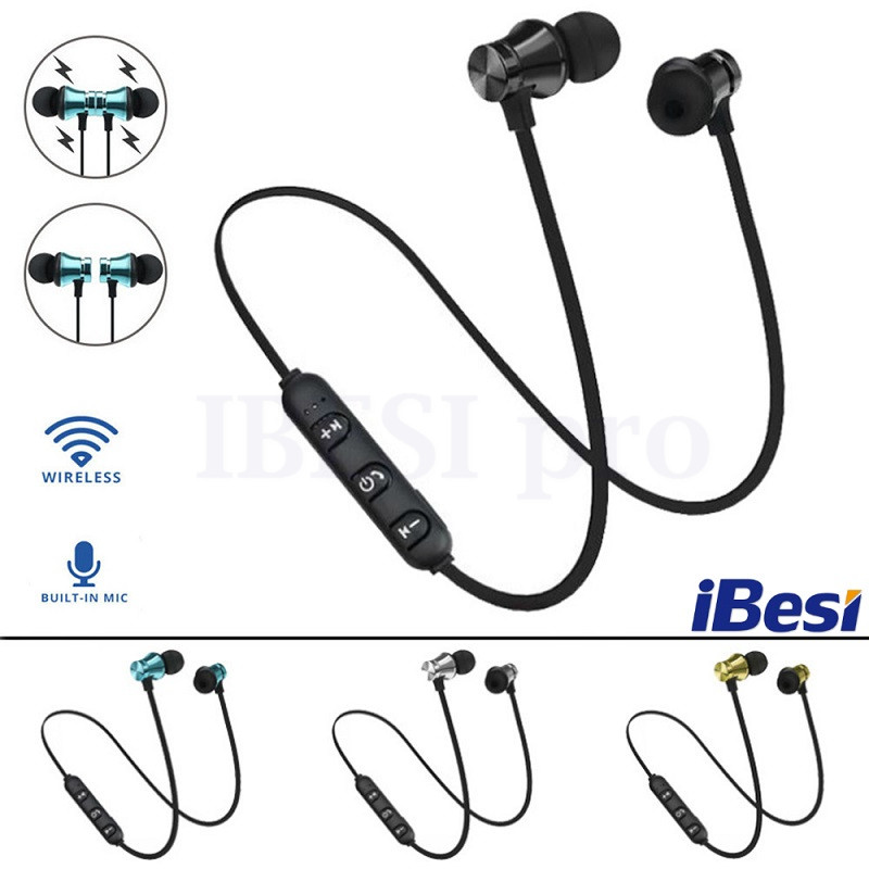 IBESI XT11 Wireless Headphone Magnetic Bluetooth Earphone Neckband Sport Bass Headset Handsfree Earbuds With Mic For Phone