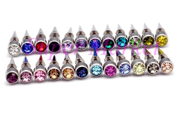 Fake Ear Expander Earring Piercing Stud Ring Nail 6mm ball 1.2mm bar 24colors 316L stainless steel Free Shipping