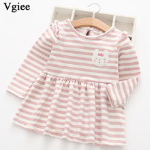 Vgiee Dress for Baby Girls Dresses 2019 Autumn Winter Party Princess Dress Full Striped Print for Cat Girls Clothing CC283