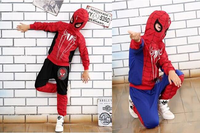 New Spider Man Children Clothing Sets Boys Spiderman Cosplay Sport Suit Kids Sets jacket font b