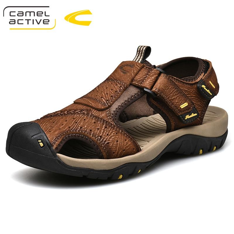 Camel Active 2019 Nieuwe Zomer Mannen Sandalen Trend Nieuwe Eenvoudige Wilde Echt Leer Koe Lederen Flexibele Slip Opvouwbare Man Schoenen-in Sandalen voor Mannen van Schoenen op  Groep 1