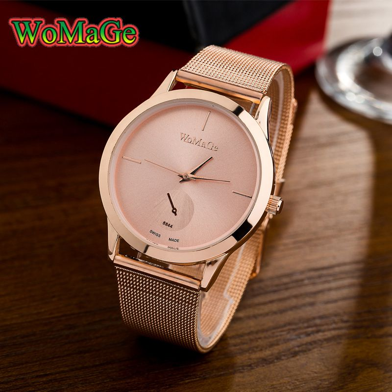Womage 2018 new fashion women watches quartz watch women rose gold stainless steel relogio for Celebrity watches 2019 women