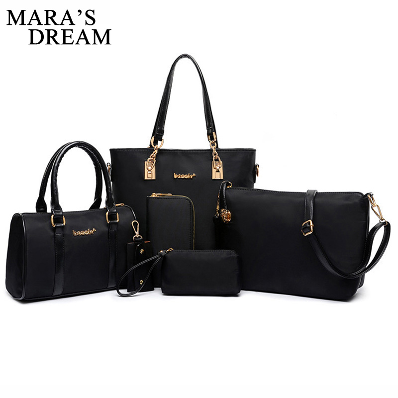 Mara's Dream 6 Set Bags Handbag + Shoulder Bag + Tote + Wallet + Key Bag Solid Color Zipper Patent PU Leather Bag Women 2017 patent leather handbag shoulder bag for women