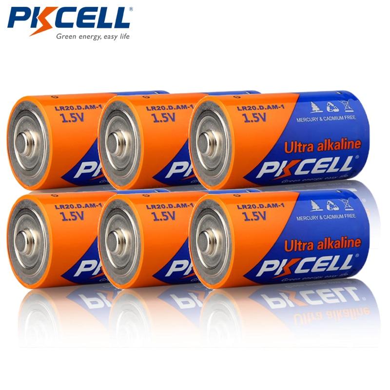 6pcs PKCELL AM-1 LR20 MN1300 R20 R20P 1.5V Alkaline Battery For Flashlights Toys,Loudspeaker,Gas Cooker,Mircophone,Water Heater