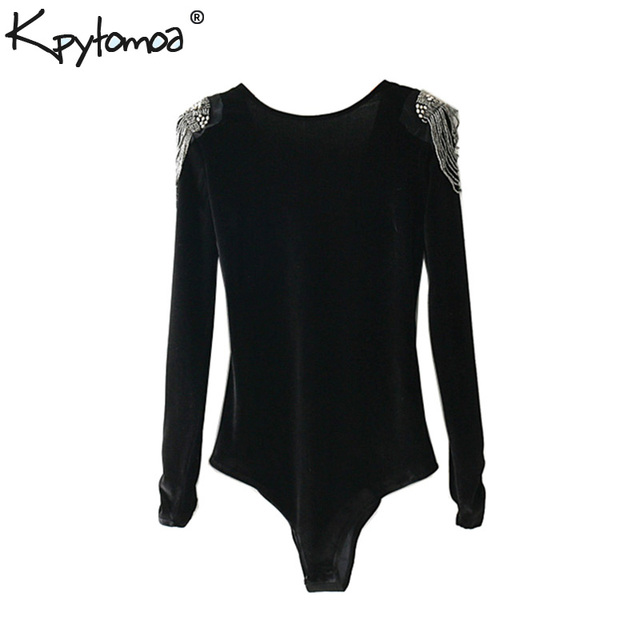65cca68e4e Vintage Beading Appliques Velvet Bodysuit Women 2019 Fashion Sexy Backless V  Neck Crossover Ladies Playsuits Casual Body Femme