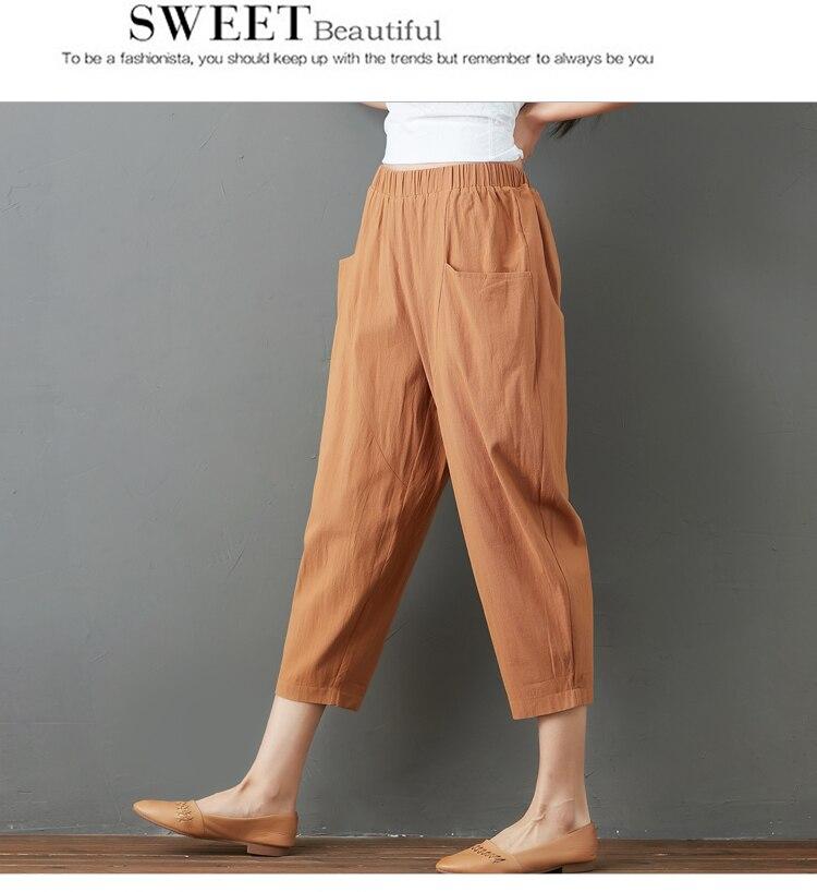 Summer Elastic Waist Cotton Linen Pocket Harem Pant Vintage Loose Mori Girl Oversized Home Tracksuit Plus Size Trouser Workout 40