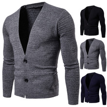 2018 aowofs new men's v-neck cardigan sweater fashion men's cotton sweater men's autumn and winter long-sleeved sweater coat