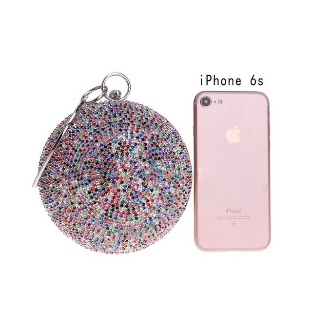 Clutch Purse Diamonds Colorful Lady Round Shaped Chain Shoulder Handbag