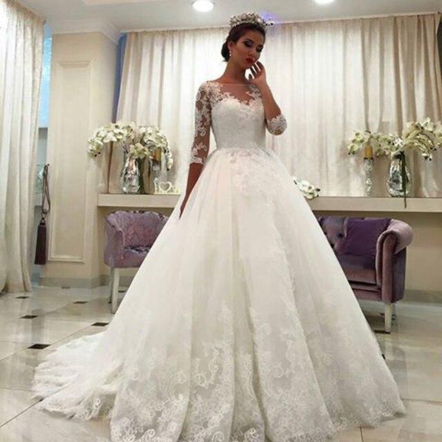 2016 Luxus Elegant Aribic Ball GownThree Quarter Sleeve Wedding ...