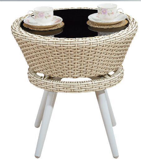 Round Wicker Coffee Table Glass Top: Rattan And Wicker Round CoffeeTable With Glass Top White