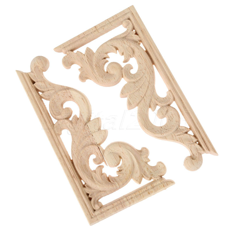 A pair 13 7 0 8cm left and right wood carved corner onlay for Applique furniture decoration