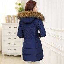 Хлопок женщин в долгосрочной разделе самосовершенствование среднего возраста толстый слой большой размер зимнее пальто пуховик шерсть воротник