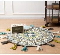 Ручной Тканый плотный хлопковый шерстяной ковер с кисточкой, спальня круглый коврик художественный дизайн, эркер, подушка для дивана, натур