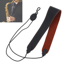 Adjustable Brown Genuine Leather Saxophone Clarinet Neck Strap Single Shoulder Strap for Saxophone Clarinet(China)