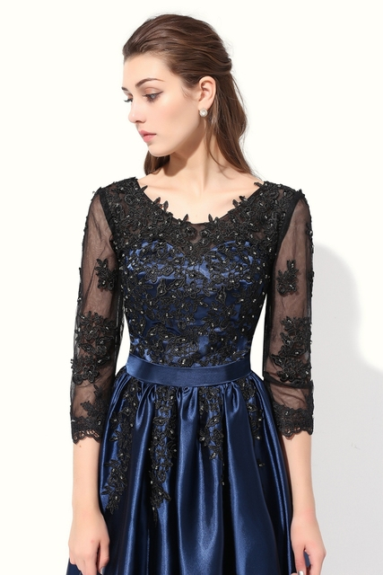 SSYFashion Hot Long Party Dress Blue with Black Lace Embroidery 3 4 Sleeved  Banquet Mother of The Bride Dresses Robe De Soiree free shipping worldwide d853931d531b