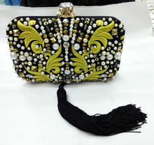 Women Tassel Party Clutch Evening Bag Black mixed Gold Female Clutch Handbag with Chain Purse Crystal