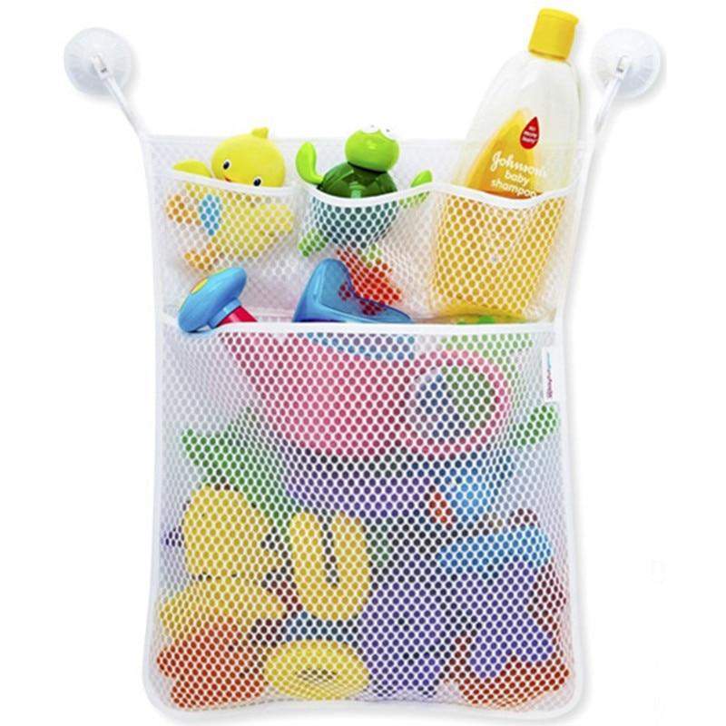 Kids Baby Bath Toys Tidy Storage Suction Cup Bag Baby Bathroom Toys ...