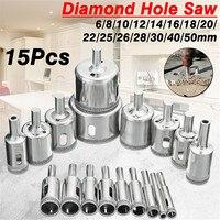 15 teile/satz 6mm 50mm Diamant Lochsäge Bohrer Werkzeug für Keramik Porzellan Glas Marmor 6/8 /10/12/14/16/18/20/22/25/26/28 /30/40/50m-in Bohrkronen aus Werkzeug bei