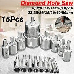 15Pcs/set 6mm-50mm Diamond Holesaw Drill Bit Tool for Ceramic Porcelain Glass Marble 6/8/10/12/14/16/18/20/22/25/26/28/30/40/50m