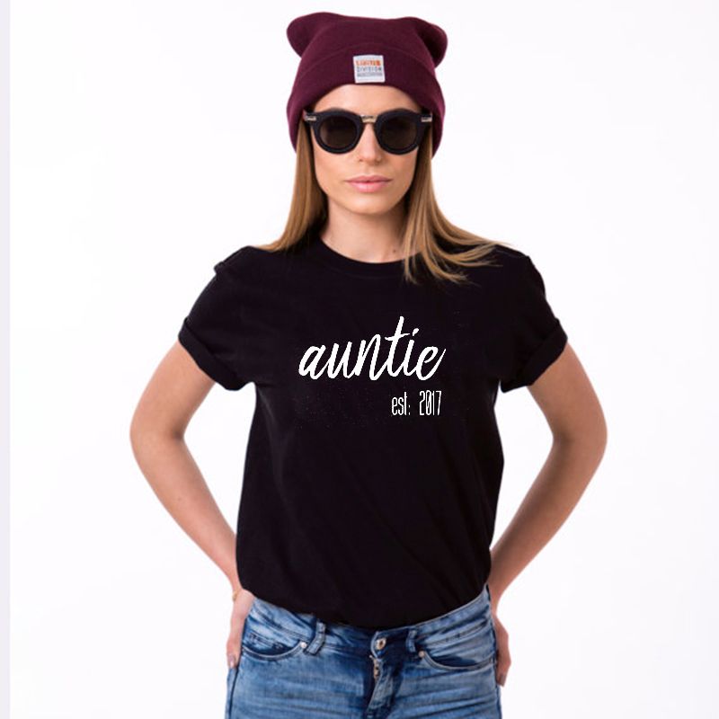 EnjoytheSpirit Auntie Established 2017 Funny Gift Women Tshirt for Aunt Black Fashion Size XS-2XL Loose Fit Short Sleeve