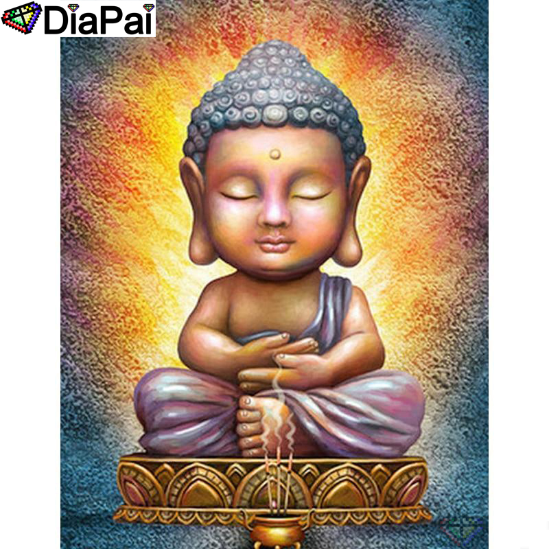 DIAPAI 5D DIY Diamond Painting 100 Full Square Round Drill quot Religious Buddha quot Diamond Embroidery Cross Stitch 3D Decor A22185 in Diamond Painting Cross Stitch from Home amp Garden