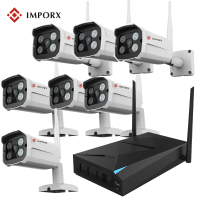 IMPORX Plug Play Wireless 8CH CCTV Camera System P2P Wireless NVR IP Camera 960P Outdoor Bullet