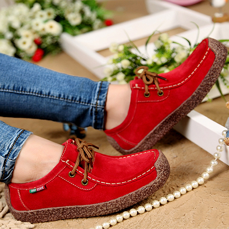 2017 New Fashion Woman Casual Shoes Wild Lace-up Women Flats Warm Comfortable Footwear Woman Shoes Breathable Female Shoes aDT90
