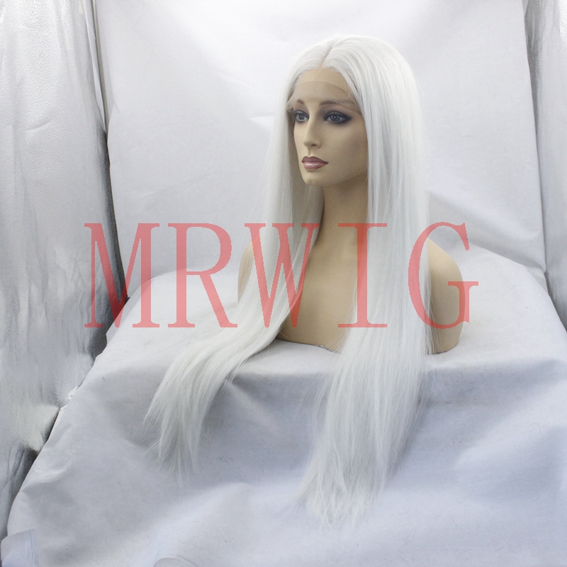 Real Picture Glueless Synthetic Lace Front Wigs Middle Part White Color Long Straight Half Hand Tied Replacement in Synthetic None Lace Wigs from Hair Extensions Wigs