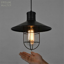 Vintage Pendant Light Industrial Edison Lamp American Style With Cage E27 Iron Base RH Loft Coffee Bar Restaurant Kitchen Lights
