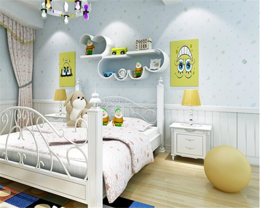 beibehang Warm and lovely cartoon sprinkle gold stars moon nonwovens 3d wallpaper boy girl bedroom children bedroom wall paper beibehang three dimensional pastoral floral nonwoven 3d wall paper warm pink children s bedroom girl bedroom european wallpaper