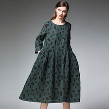 4XL Lady Dress Cotton Linen Spring 2019 New Plus Size Red Woman Party Loose Pocket Dresses Female Oversized Clothing 3XL