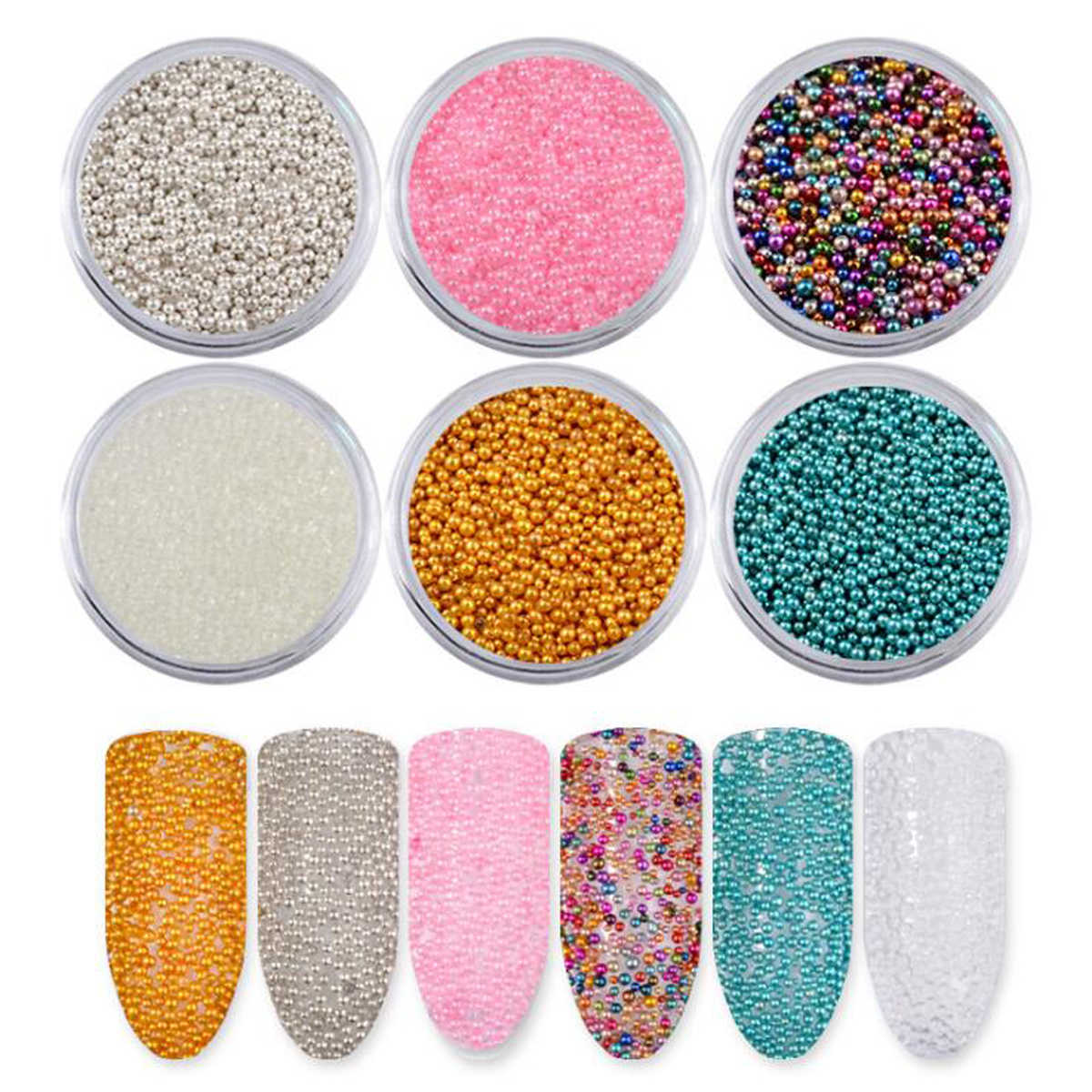 Nail Rhinestone & Ornaments Manicure Caviar Colorful Beads Phototherapy Mixed Color Beads DIY Nail Art Decorations 6box/set