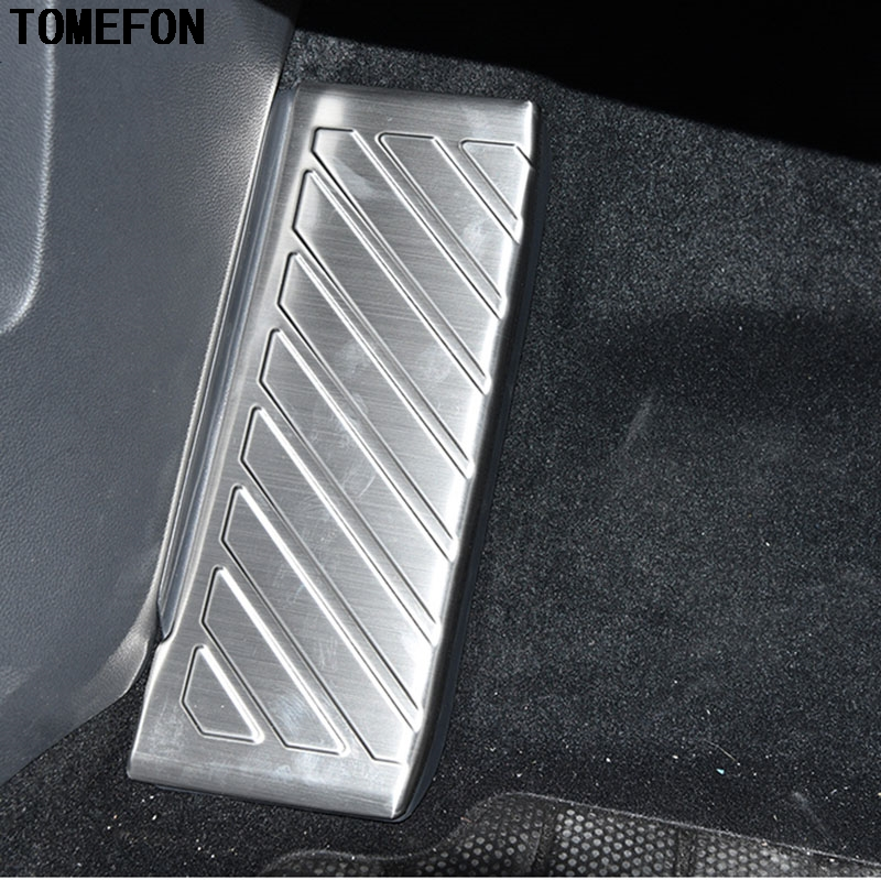 TOMEFON Stainless Steel For Volkswagen VW Tiguan Second Generation 2017 2018 Interior Foot Rest Pedal Protector Trim Accessoires image