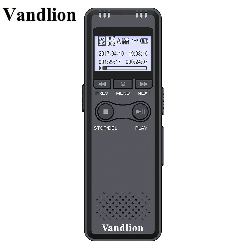 Vandlion V30 Black Digital Voice Recorder 8G 16G Voice Activated Recording Portable Recorder With Hifi MP3 Noise Reduction