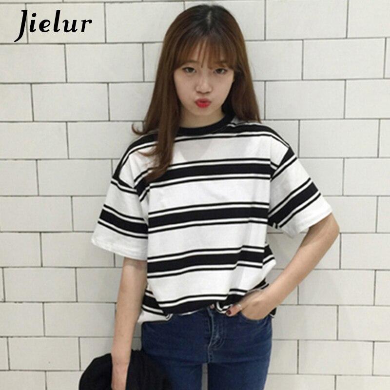 2018 sommer Kleidung für Frauen Harajuku BF Schwarz und Weiß Gestreiften T-shirts Lose Kurzarm Weibliche T-shirt Tops Mädchen S-XL