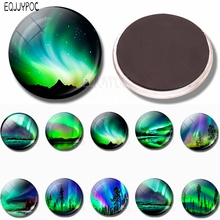 Northern Lights Glass Dome Fridge 30 MM Aurora Borealis Magnetic Refrigerator Stickers Magnet Galaxy Universe Space Home Decor