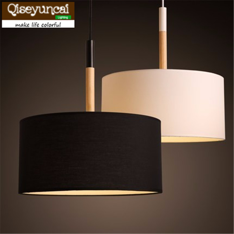 Qiseyuncai Nordic  Country Wooden Pendant Light Black White 30/40/50cm Suspension Luminaire Fabric Living Room lightingQiseyuncai Nordic  Country Wooden Pendant Light Black White 30/40/50cm Suspension Luminaire Fabric Living Room lighting