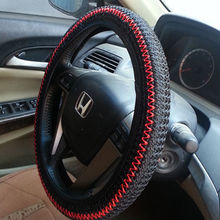 1 X HOT Sale 38CM Ice Silk DIY Car Steering Wheel Cover Summer Helper Cool Black Beige Grey Color