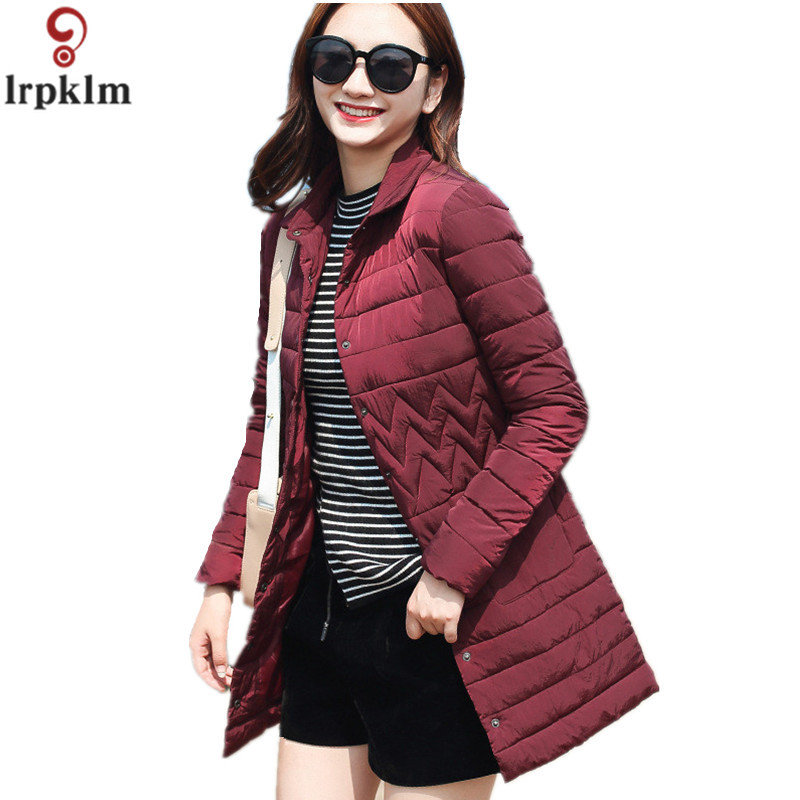 купить Woman Spring Padded Warm Coat Ultra Light Jacket Long Female Overcoat Slim Solid Jackets Winter Coat Portable Parkas LZ228 дешево