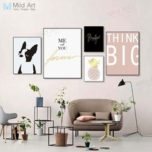 Kawaii Dog Pink Gold Pineapple Inspire Quotes Posters and Prints Nordic Living Room Wall Art Pictures Home Decor Canvas Painting
