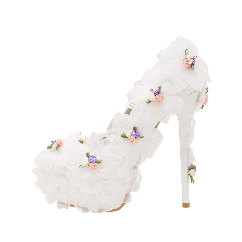 Fashion White Chiffon flower bride shoes ultra fine with wedding shoes high-heeled wedding pumps new Thin Heels 2015 new high heeled shoes sexy shoes fine with waterproof ultra high heels nightclub 16cm red wedding shoes