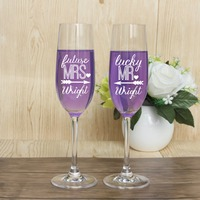 Lucky Mr & Future Mrs Wedding Toasting Champagne Flutes Glasses,Marriage Party Drink Cup Wine Decoration For Engagement Gift