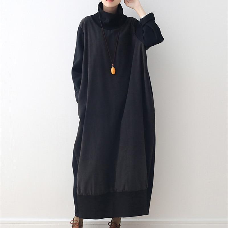 Livraison gratuite 2019 nouvelle mode grande taille lâche longue mi-mollet coton une-pièce robe hiver épais polaire haute qualité col roulé