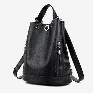 Image 1 - 2019 Kadın Sırt Çantası Yüksek Kaliteli PU Deri Kadın seyahat sırt çantaları Çok fonksiyonlu Su Geçirmez omuzdan askili çanta Kız Okul Çantaları