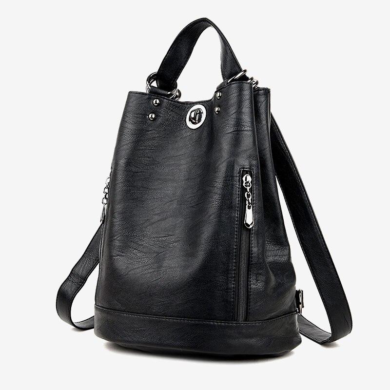2019 Women Backpack High Quality PU Leather Female Travel Backpacks Multi Functional Waterproof Shoulder Bag Girls School Bags